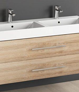 Keramik Doppelwaschtisch / Badezimmer Möbel Inkl. Waschbecken Unterschrank  Sonomo Eiche