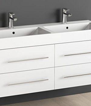Keramik Doppelwaschtisch / Badezimmer Möbel Inkl. Waschbecken Unterschrank  Weiß Lackiert