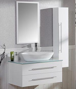 Marvelous Badezimmer Komplett Set Badmöbel Inkl. Waschbecken, Armatur  Waschbeckenunterschrank, Seitenschrank Und Spiegel Badezimmermöbel Set Ideas