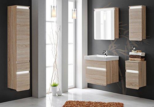 comad stella badm bel set 6 teilig in eiche sonoma inklusive waschtisch und led beleuchtung. Black Bedroom Furniture Sets. Home Design Ideas