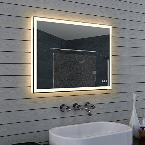 design badezimmerspiegel mit dimmer warm und kaltwei und touchschalter 80 x 60 cm. Black Bedroom Furniture Sets. Home Design Ideas