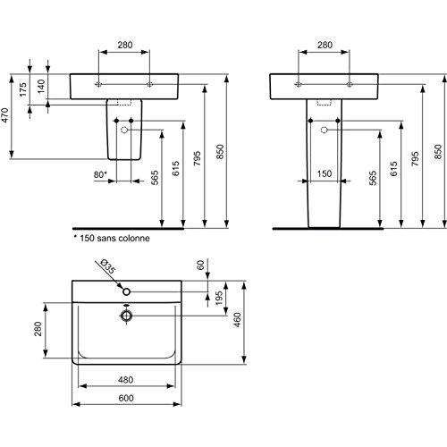 ideal standard e714101 connect cube waschtisch 60 x 46 cm wei. Black Bedroom Furniture Sets. Home Design Ideas