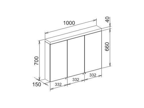 keuco 24004171301 spiegelschrank royal reflex 3 t rig 100cm. Black Bedroom Furniture Sets. Home Design Ideas