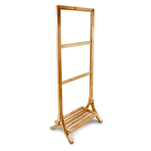 relaxdays handtuchhalter bambus mit 3 handtuchstangen und. Black Bedroom Furniture Sets. Home Design Ideas
