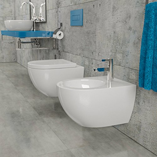 design keramik wand h nge wc toilette wand bidet mit geschlossenem rand inkl wc sitz aus. Black Bedroom Furniture Sets. Home Design Ideas