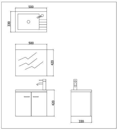 mineralguss waschbecken mit unterschrank 50 cm breit spiegel bad design badezimmer becken. Black Bedroom Furniture Sets. Home Design Ideas