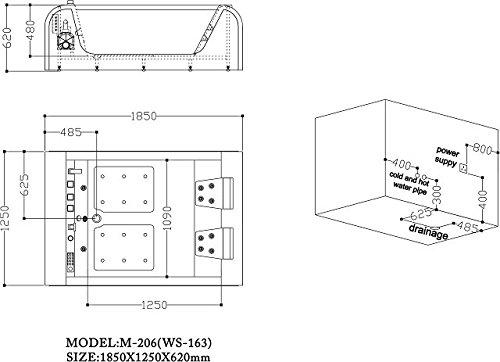 2 personen whirlpool detroit badewanne 185x125 sonderpreis vollausstattung sofort lieferbar. Black Bedroom Furniture Sets. Home Design Ideas