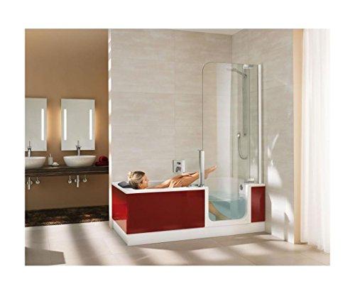 artweger twinline 2 dusch badewanne 170 cm mit t r duschabtrennung silber matt. Black Bedroom Furniture Sets. Home Design Ideas