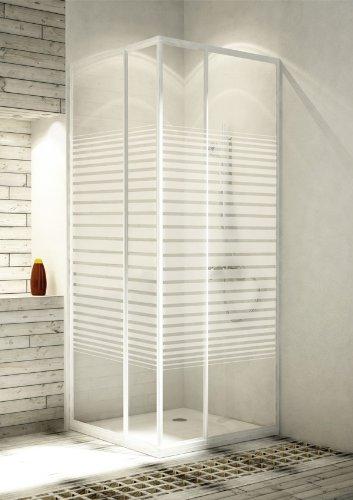 eckeinstieg duschkabine echtglas sicherheitsglas mit streifen weisse profile 75x75 75x80 75x90. Black Bedroom Furniture Sets. Home Design Ideas