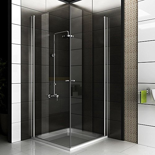 komplett duschkabine 90x90x195 eckeinstieg echtglas dusche duschabtrennung badezimmer. Black Bedroom Furniture Sets. Home Design Ideas