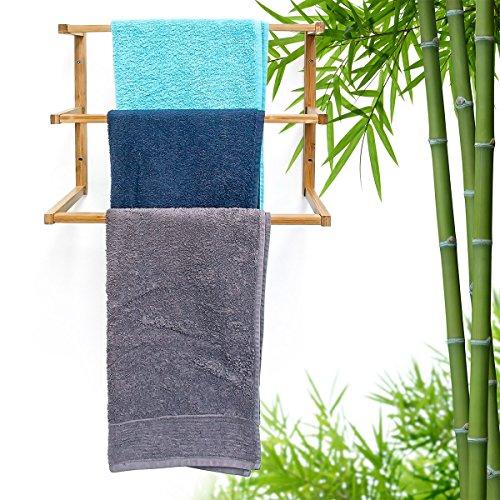 relaxdays wandhandtuchhalter bambus mit 3 handtuchstangen hbt 38 x 44 x 20 cm handtuchhalter zur. Black Bedroom Furniture Sets. Home Design Ideas