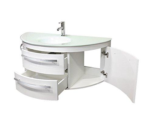 Designer  Badset | Abgerundeter Waschplatz | Runder Waschtisch mit Fächern