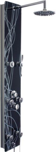 schwarzes design glas duschpaneel mit weissen verzierungen xxl duschkopf. Black Bedroom Furniture Sets. Home Design Ideas