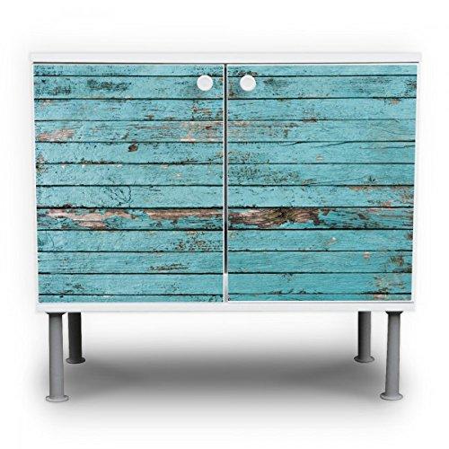 banjado badunterschrank 60x55x35cm design waschbeckenunterschrank mit motiv blaue holzlatten. Black Bedroom Furniture Sets. Home Design Ideas