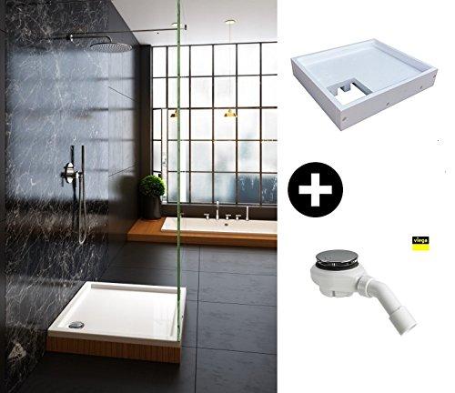 galdem duschwannen set komplett set mit duschwannentr ger und viega ablaufgarnitur rechteck. Black Bedroom Furniture Sets. Home Design Ideas