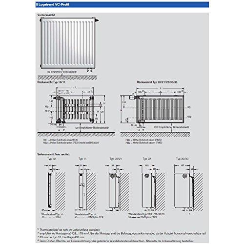 buderus ventilheizk rper typ 22 h he 500 x l nge 1800 mit halter und stopfen. Black Bedroom Furniture Sets. Home Design Ideas