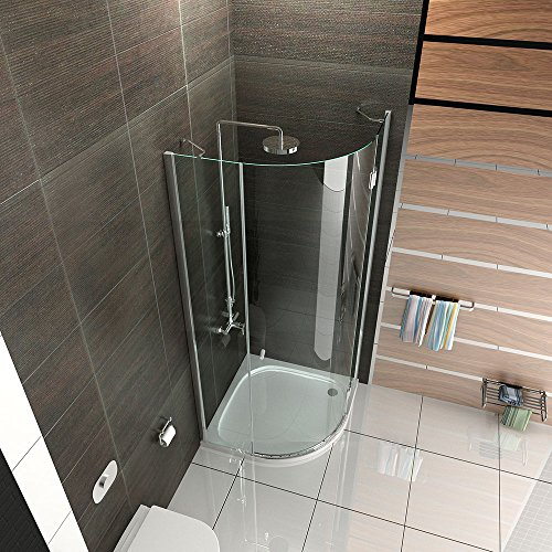duschkabine viertelkreis echtglas duschabtrennung 90x90 x200 cm rahmenlos dusche komplett. Black Bedroom Furniture Sets. Home Design Ideas