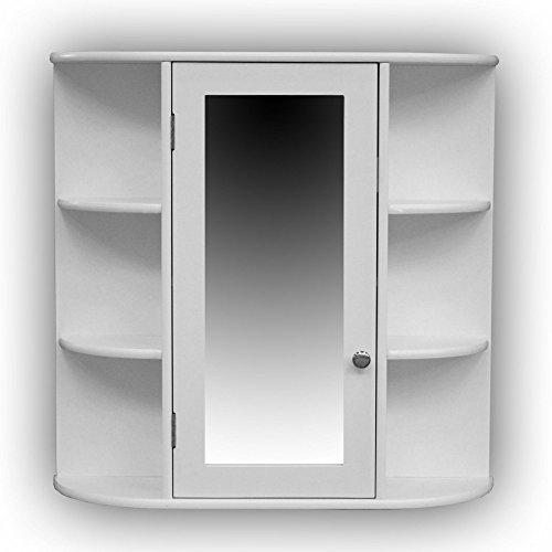1PLUS Landhaus Badezimmerschrank hängend mit Spiegel Badalona, weiß ...