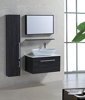 4 Tlg. Badmöbel Set Badezimmermöbel Komplettset 80 Cm  Waschtischunterschrank Mit Aufsatzwaschbecken Hängeschrank Spiegel Mit  Ablage Vormontiert