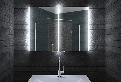Aluminium Badschrank Badezimmer Spiegelschrank Bad LED