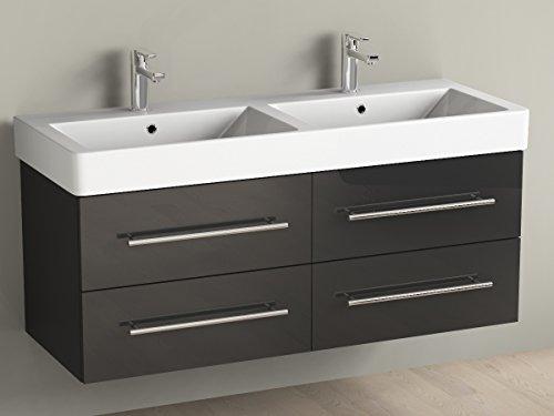 Aqua Bagno Badmöbel 120 cm inkl. Keramik Doppelwaschtisch / Badezimmer  Möbel inkl. Waschbecken Unterschrank schwarz lackiert