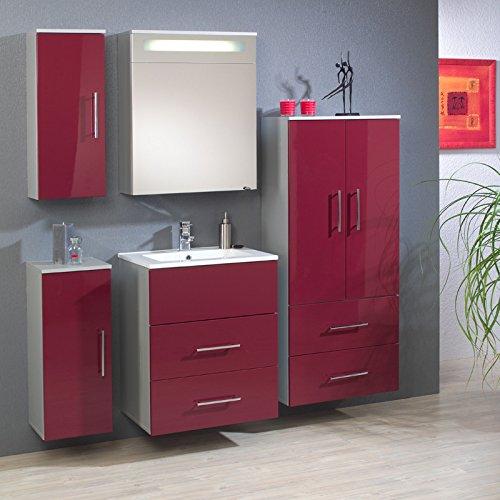 badezimmer bad h ngeschrank badezimmerschrank hochglanz rot badm bel badschrank. Black Bedroom Furniture Sets. Home Design Ideas