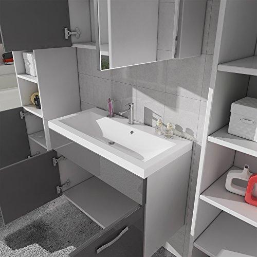 badezimmer badm bel paso xl led 80 cm waschbecken hochglanz grau fronten unterschrank 2x. Black Bedroom Furniture Sets. Home Design Ideas