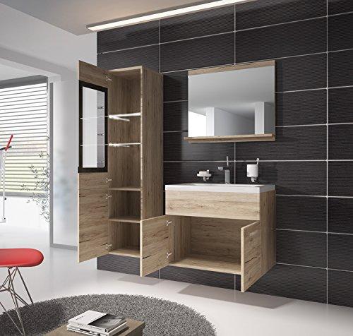 badezimmer badm bel rio led 60 cm waschbecken san remo unterschrank hochschrank waschtisch. Black Bedroom Furniture Sets. Home Design Ideas