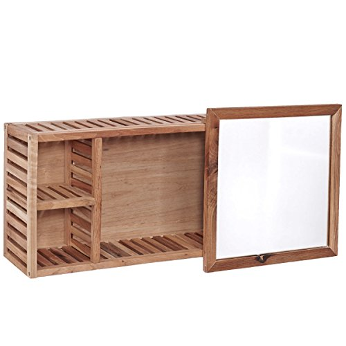Badezimmer-Wandregal mit Spiegel - Walnussholz - braun - 80 x 17 x ...