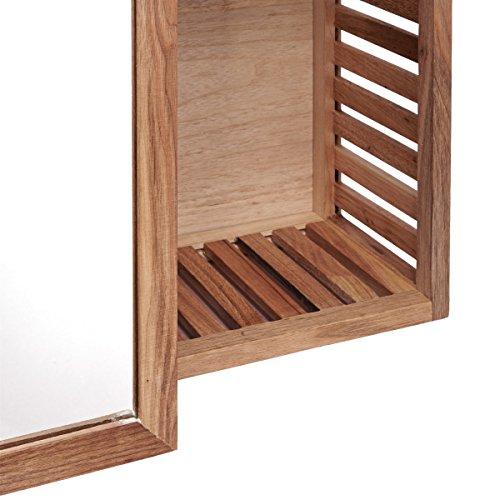 Badezimmer wandregal mit spiegel walnussholz braun - Wandregal braun ...