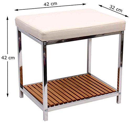 Badhocker Badezimmer Hocker NEU Chrome Sitzhocker Bambus Ablage ...