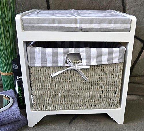 badhocker hocker sitzhocker korb badezimmerhocker w schekorb landhaus lv1010. Black Bedroom Furniture Sets. Home Design Ideas