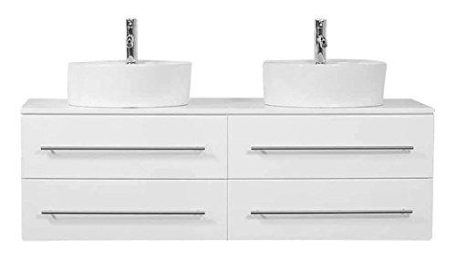 XL weiß hochglanz badmöbel Aufsatzwaschbecken | doppelt hochglanz waschbecken