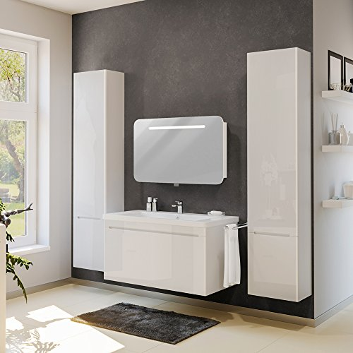 badm bel set badezimmer spiegel led waschtisch waschbecken wei hochglanz. Black Bedroom Furniture Sets. Home Design Ideas
