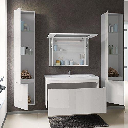 badm bel set badezimmer spiegel led waschtisch waschbecken wei hochglanz. Black Bedroom Furniture Sets. Home Design Ideas
