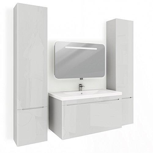 Badmöbel Set Badezimmer Spiegel LED Waschtisch Waschbecken Weiß Hochglanz