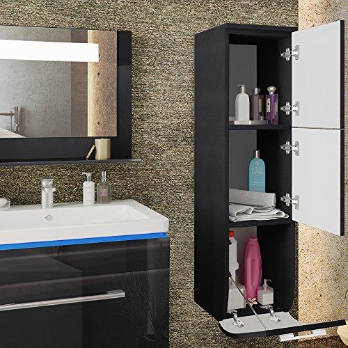 badm bel set badezimmer waschbecken spiegel led waschtisch schwarz hochglanz. Black Bedroom Furniture Sets. Home Design Ideas