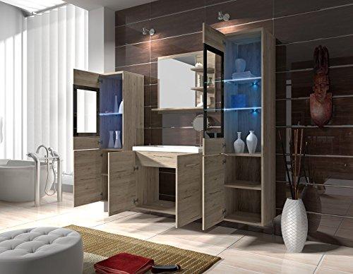 Badmöbel Set Udine I mit Waschbecken und Siphon, Modernes Badezimmer ...