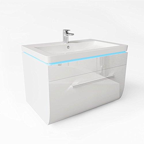 Badmöbel Set Weiss Hochglanz Badezimmer Waschbecken LED Waschtisch