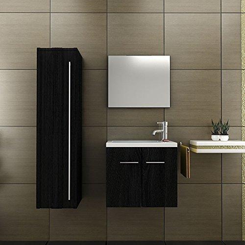 badm belset waschbecken und unterschrank hochschrank design spiegel schwarz waschplatz. Black Bedroom Furniture Sets. Home Design Ideas