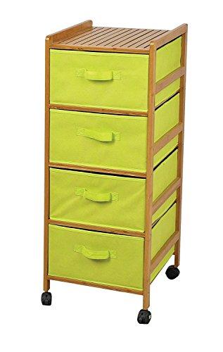 badregal mit gr nen stoff schubladen bambus holz regalwagen caontainer auf rollen. Black Bedroom Furniture Sets. Home Design Ideas