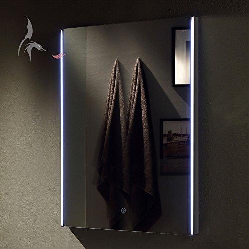 TOP AKTION FRÜHLING ! Badspiegel LED beleuchtet, Heilbronn 60x80cm,  Badezimmerspiegel seitliche Lichtschienen, mit Touch Schalter,  Energieklasse A+ ...