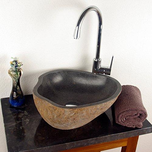 Divero aufsatzwaschbecken naturstein handwaschbecken neapel max 30 kg andesit findling grau - Aufsatzwaschbecken naturstein ...