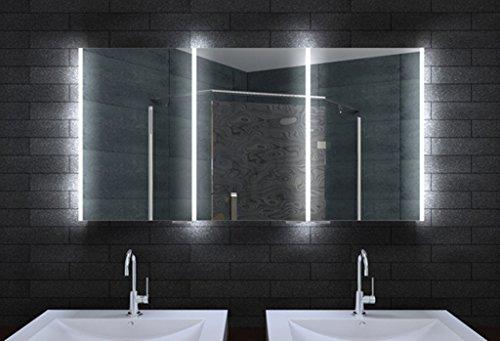 design spiegelschrank mit led beleuchtung und lichtleitenden acryl streifen 140cm. Black Bedroom Furniture Sets. Home Design Ideas