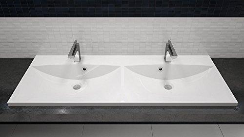 Waschbecken rund einbau  Doppel-Einbau-Waschbecken 120x46cm eckig | 120cm Doppel-Einbau ...