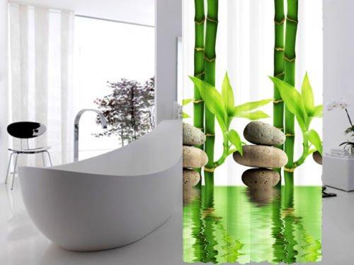 edler textil duschvorhang 120 x 200 cm bambus mit stein gr n wei inkl ringe. Black Bedroom Furniture Sets. Home Design Ideas