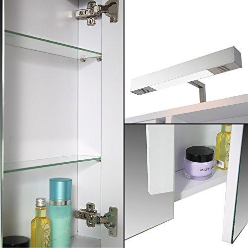 eurosan spiegelschrank superflach halogenaufsatzleuchte wei berlin holz. Black Bedroom Furniture Sets. Home Design Ideas