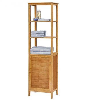Fesselnd Hochschrank Badezimmermöbel Badezimmer Schrank Bambus Badschrank Mit Tür
