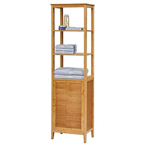 Hochschrank Badezimmermöbel Badezimmer-Schrank Bambus Badschrank mit Tür