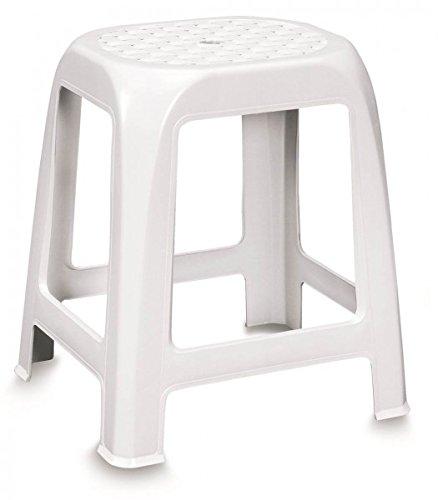 Hocker Mit Sitzflache Im Rattan Design Kunststoff Weiss Ideal Fur